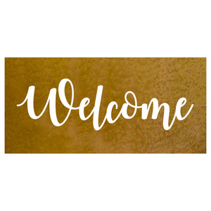 "Welcome Wall Plaque – Metal art sign with the word ""Welcome"" made into a contemporary piece of wall art, perfect to display on a front porch or entryway for a warm greeting to all your loved ones"