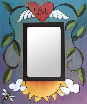 """Wesley the Bee"" Picture Frame – ""Love"" frame with heart with wings and sun motif front view"