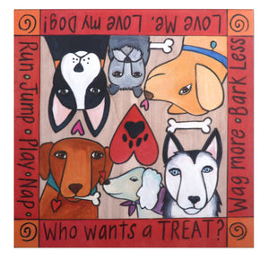 """What's Your Trick?"" Dog Treat Box – A dog themed word border surrounds furry friends looking for treats top view"