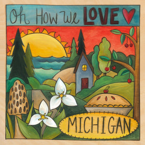 """Where the Trillium Grows"" Plaque – ""Oh How We Love Michigan"" plaque with warm sun over the lake motif front view"