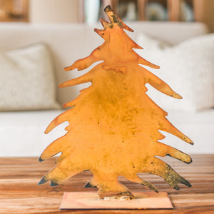 Wide Tree Sculpture – This tree silhouette adds a great Northwoods, cabin touch to any shelf year round and makes a perfect Christmas tree tabletop display during the holidays main view