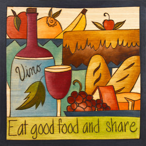 """With a Cherry on Top"" Plaque – ""Eat Good Food and Share"" plaque with smooth wine and tasty treats motif front view"