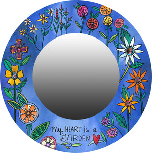 """Wonderful World"" Mirror – Royal blue contemporary floral ""my heart is a garden"" mirror"