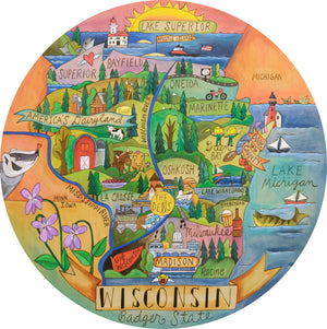 """Wondrous Wisconsin"" Lazy Susan – ""Badger State"" lazy susan with beautiful scenes of Wisconsin motif front view"