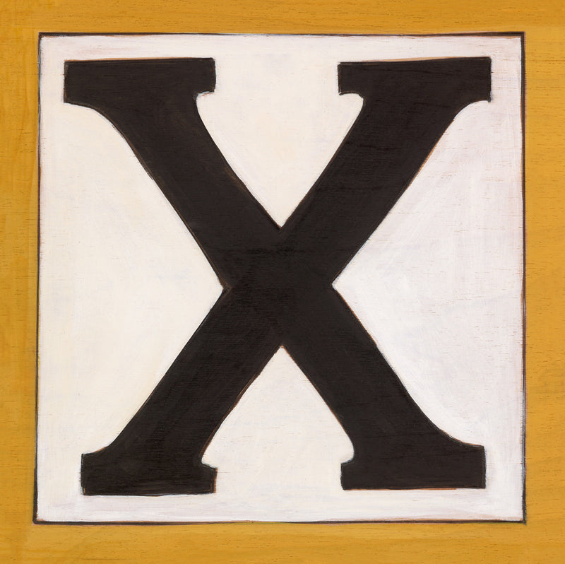 "Sincerely, Sticks printed letter ""X"" plaque, option 2"