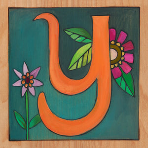 "Sincerely, Sticks ""Y"" Alphabet Letter Plaque option 1 with flowers"