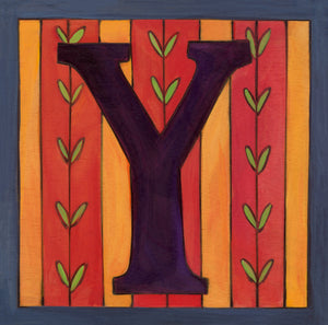 "Sincerely, Sticks ""Y"" Alphabet Letter Plaque option 2 with vine stripes"