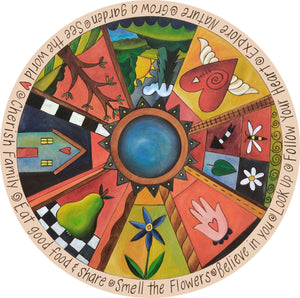 """Your Life is Art"" Lazy Susan – ""Follow your Heart"" lazy susan with heart with wings and tree of life motif front view"