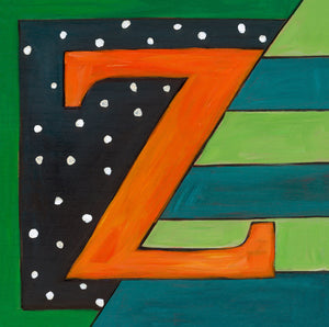 "Sincerely, Sticks ""Z"" Alphabet Letter Plaque option 1 with polka dots and stripes"