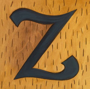 "Sincerely, Sticks ""Z"" Alphabet Letter Plaque option 2 with vertical hash marks"