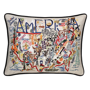 America Hand-Embroidered Pillow -  From shore to shore there's 3,537,441 square miles in the continental USA and catstudio squeezed them into 432 square inches of amazing embroidery