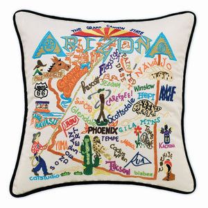 Arizona Hand-Embroidered Pillow -  The Grand Canyon State...This original design celebrates the State of Arizona