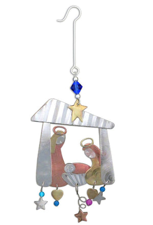 Away in a Manger Ornament – Holy family scene ornament with star and heart accents