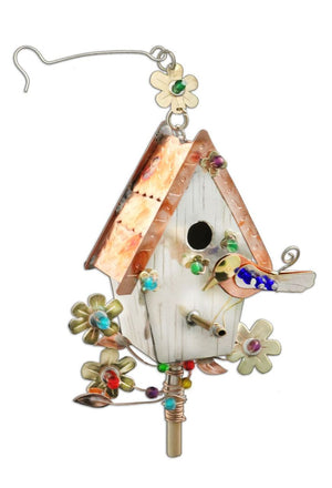 Bluebird Birdhouse Ornament – Lovely sculptural birdhouse ornament with flowers and a bird on its perch
