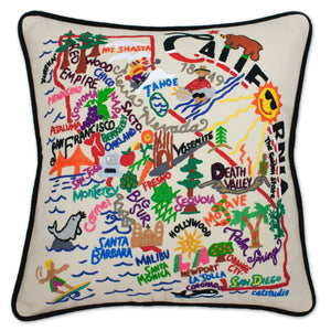 California Hand-Embroidered Pillow -  The Golden State...and home to catstudio, this original design celebrates the state of California