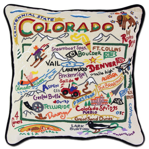 Colorado Hand-Embroidered Pillow -  The Centennial State, this original design celebrates the beautiful state of Colorado