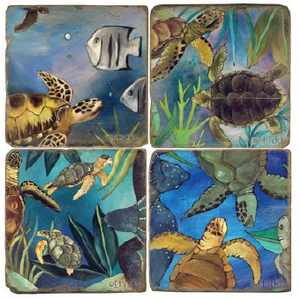 Tropical turtles and fish swim through seaweed coaster motif
