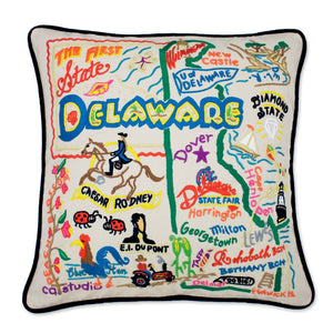 Delaware Hand-Embroidered Pillow -  This original design celebrates the FIRST State - Delaware!