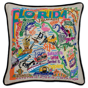 Florida Hand-Embroidered Pillow -  This original design celebrates the beautiful sunshine state of Florida. From the Keys to Pensacola, Tampa to Palm Beach, Flamingos to Alligators...and we'd never forget the Mouth of the Rat (Boca Raton)! Ha, ha! What a great state!