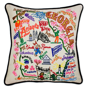 Georgia Hand-Embroidered Pillow -  The Soul of the South... the Peach State! Dalton to Savannah, Okefenokee to Athens, Bulldogs to Onions!!! This original design celebrates the State of Georgia.