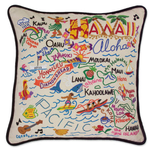 Hawaii Hand-Embroidered Pillow -  ALOHA! This original design celebrates the beautiful Hawaiian Islands. Carmel Swan, one of the owners of catstudio, is a native of Hawaii—and she worked long hours to ensure the art truly captures the spirit of Aloha. We think it does!