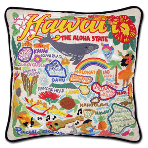 Hawaii Isles Hand-Embroidered Pillow -  Aloha, this original design celebrates the Hawaiian Isles