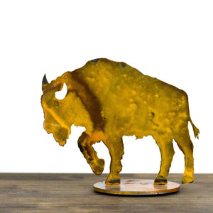 Buffalo Sculpture – Rustic patina bison sculpture adds the perfect touch of western plains to your home's décor main view