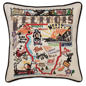 Illinois Hand-Embroidered Pillow -  The land of Lincoln. This original design celebrates the State of Illinois - from Cairo to Chicago!