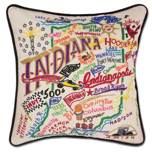 Indiana Hand-Embroidered Pillow -  This original design celebrates the great State of Indiana - from Madison to Muncie to Lake Michigan!
