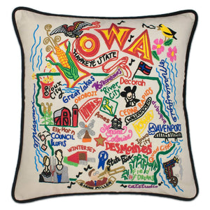Iowa Hand-Embroidered Pillow -  This original design celebrates the great State of Iowa from Council Bluffs to Sioux City to Dubuque! Terrell Swan, one of the owners of catstudio, says it's his favorite design!!