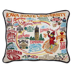 Iowa State University Hand-Embroidered Pillow -  This original design celebrates Iowa State University. Go Cyclones!