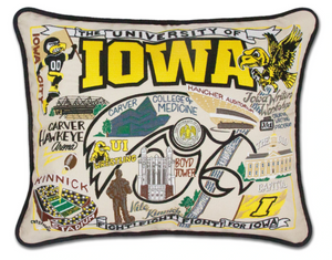 University of Iowa Hand-Embroidered Pillow -  This original design celebrates the University of Iowa. Go Hawkeyes!