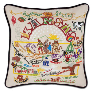 Kansas Hand-Embroidered Pillow -  This original design celebrates Kansas, the Sunflower State