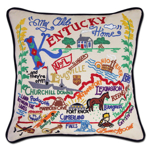 Kentucky Hand-Embroidered Pillow -  The Bluegrass State! This original design celebrates the State of Kentucky - from Cumberland Falls to Bowling Green to Frankfort (not Germany - ha! ha!) while riding on the bluegrass!