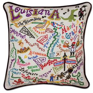 Louisiana Hand-Embroidered Pillow -  Louisiana, it's like a separate country, but it's a state! This original design celebrates this amazing state from Lake Charles to Monroe to Tallulah to the Crescent City!