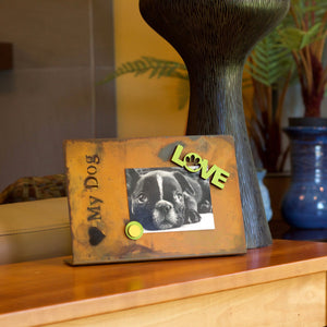 Love My Dog Magnetic Frame – Easily show off your newest photos of your fur baby by using this tabletop patina frame main view
