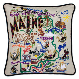 Maine Hand-Embroidered Pillow -  This original design celebrates the state of Maine, from Kennebunkport to Moosehead Lake to Portland (Maine, not Oregon, ha, ha!)