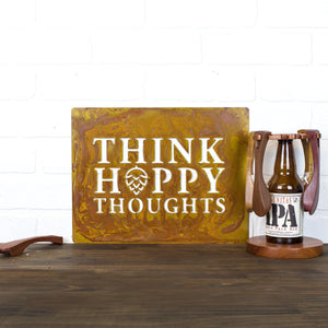 "Think Hoppy Thoughts Wall Plaque – Witty play on words ""think hoppy thoughts"" sign is a must have for your home bar or the perfect gift for the beer lover in your life"