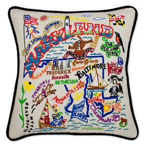 Maryland Hand-Embroidered Pillow -  This original design celebrates the State of Maryland - from Camp David to the Chesapeake Bay to Ocean City (and Thrasher's Fries - of course)!