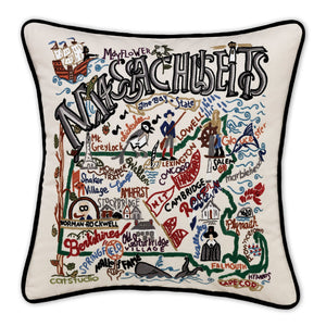 "Massachusetts Hand-Embroidered Pillow -  Henry David Thoreau says ""Hi!"" This original design celebrates the State of Massachusetts - from Nantucket to the Berkshires to Boston!"