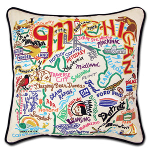 Michigan Hand-Embroidered Pillow -  This original design celebrates the amazing state of Michigan in great detail—from Battle Creek to Holland (yes they have Tulips) to the Porcupine Mountains!