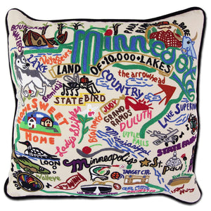 Minnesota Hand-Embroidered Pillow -  Land of 10,000 Lakes! This original design celebrates the state of Minnesota—from Rochester (not New York) to Little Falls to International Falls...lots of water up there!