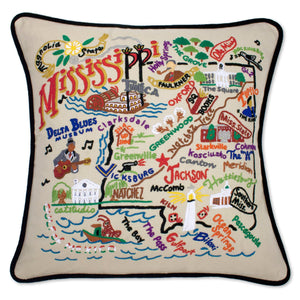 Mississippi Hand-Embroidered Pillow -  This original design celebrates the Mississippi Coast!