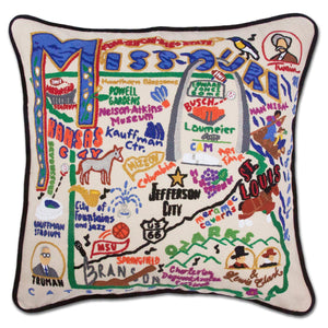 Missouri Hand-Embroidered Pillow -  This original design celebrates the State of Missouri from Elephant Rocks to Kansas City to Jefferson City to the Ozarks!