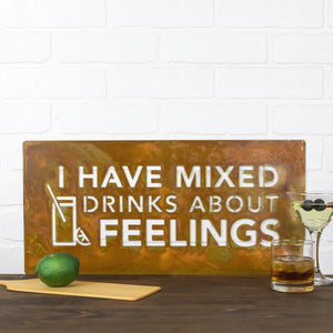 "I Have Mixed Drinks Wall Plaque – A witty sign with the phrase ""I have mixed drinks about feelings"" and a coordinating drink image would be the perfect addition to any kitchen or bar"