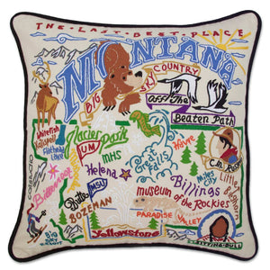 Montana Hand-Embroidered Pillow -  They don't call it THE LAST BEST PLACE for nothing! This original design celebrates the State of Montana - from Bozeman, Billings, Big Mountain - BIG SKY COUNTRY and totally Beautiful!