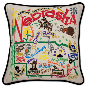 Nebraska Hand-Embroidered Pillow -  This original design celebrates the State of Nebraska - from Lincoln to Grand Island to Crescent Lake to Carhenge - to Omaha!