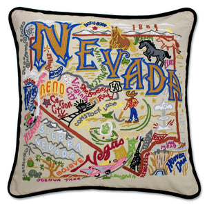 Nevada Hand-Embroidered Pillow -  This original design celebrates the state of Nevada from Vegas to Lake Tahoe to Sparks and across America's loneliest highway—Hwy 50!