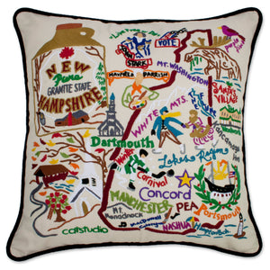 New Hampshire Hand-Embroidered Pillow -  This original design celebrates the State of New Hampshire - from Nashua to Dartmouth to Mt. Washington to Portsmouth!