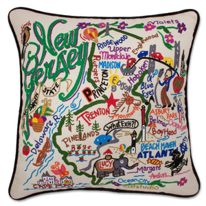 New Jersey Hand-Embroidered Pillow -  The Garden State! This original design celebrates the beauty of New Jersey from Cape May to the Delaware Gap to Princeton to Hoboken to the 5-story-tall Lucy the Elephant!